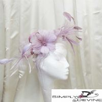 Lilac/heather feather fascinator NR151
